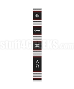 Tumi Certificate Kente Graduation Stole with Alpha Omega Greek Letters, Black