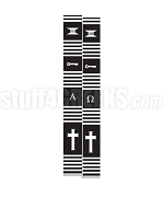 Tumi Diploma Kente Graduation Stole with Alpha Omega Greek Letters, Black