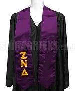 Zeta Nu Delta Satin Ladies Graduation Stole with Greek Letters, Purple