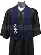Zeta Phi Rho Satin Graduation Stole with Greek Letters, Navy Blue