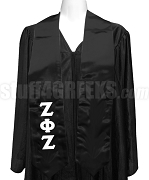Zeta Phi Zeta Ladies Satin Graduation Stole with Greek Letters, Black