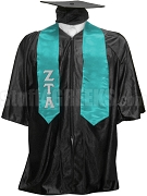 Zeta Tau Alpha Satin Graduation Stole with Greek Letters, Turquoise