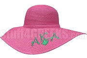 Alpha Kappa Alpha Floppy Hat with Marble String Greek Letters and Ivy Leaf, Hot Pink