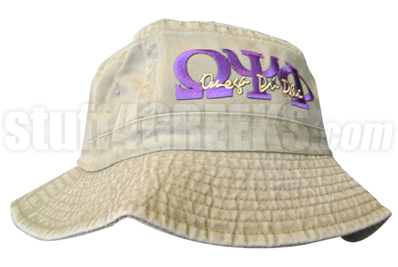 Omega Psi Phi Khaki Tan Bucket Hat with Stitched Letters NS 1f6f9a0cadc