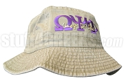 Omega Psi Phi Khaki Tan Bucket Hat with Stitched Letters NS