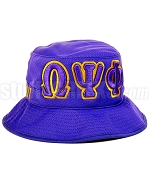 Omega Psi Phi Floppy Bucket Hat with Greek Letters, Purple (SAV)
