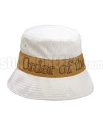 Order of the Eastern Star Floppy Bucket Hat with Organization Name, White(SAV)