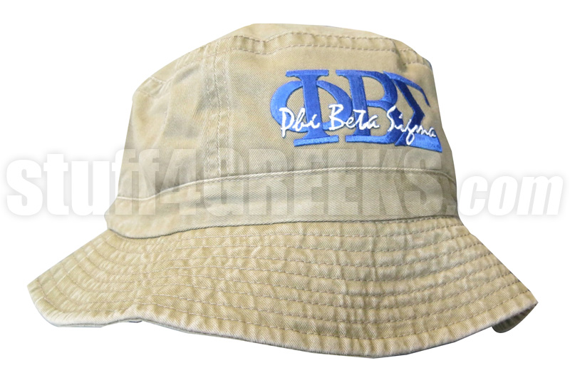 Phi Beta Sigma Khaki Tan Bucket Hat with Stitched Letters NS 2ff21f97b76
