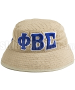 Phi Beta Sigma Floppy Bucket Hat with Greek Letters, Tan (SAV)