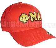 Phi Mu Alpha Greek Letter Baseball Cap with Founding Year, Red