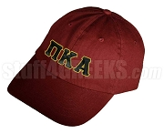 Pi Kappa Alpha Greek Letter Baseball Cap, Wine Color
