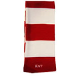 Kappa Alpha Psi Striped Red and White Scarf with Greek Letters