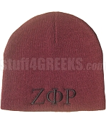 Zeta Phi Rho Beanie Skullcap with Greek Letters, Solid Maroon