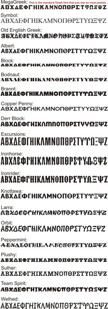 Font for Greek Letters