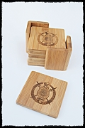 Custom Set of 6 Laser-Engraved Bamboo Coasters