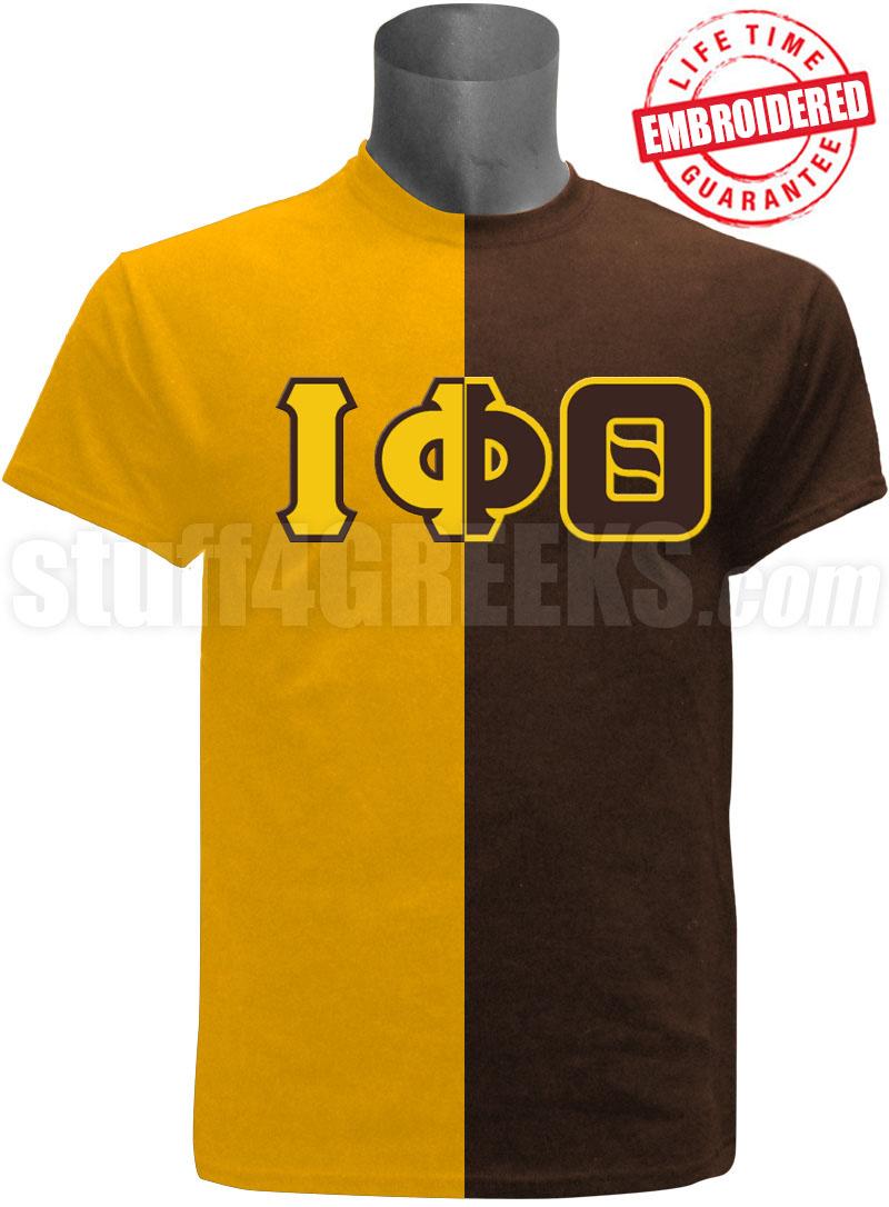 Iota Phi Theta Split Letter Two Tone T Shirt Goldbrown