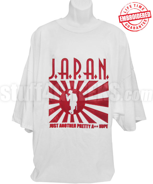 4ada8c51789d54 J.A.P.A.N. T-Shirt, White - EMBROIDERED with Lifetime Guarantee