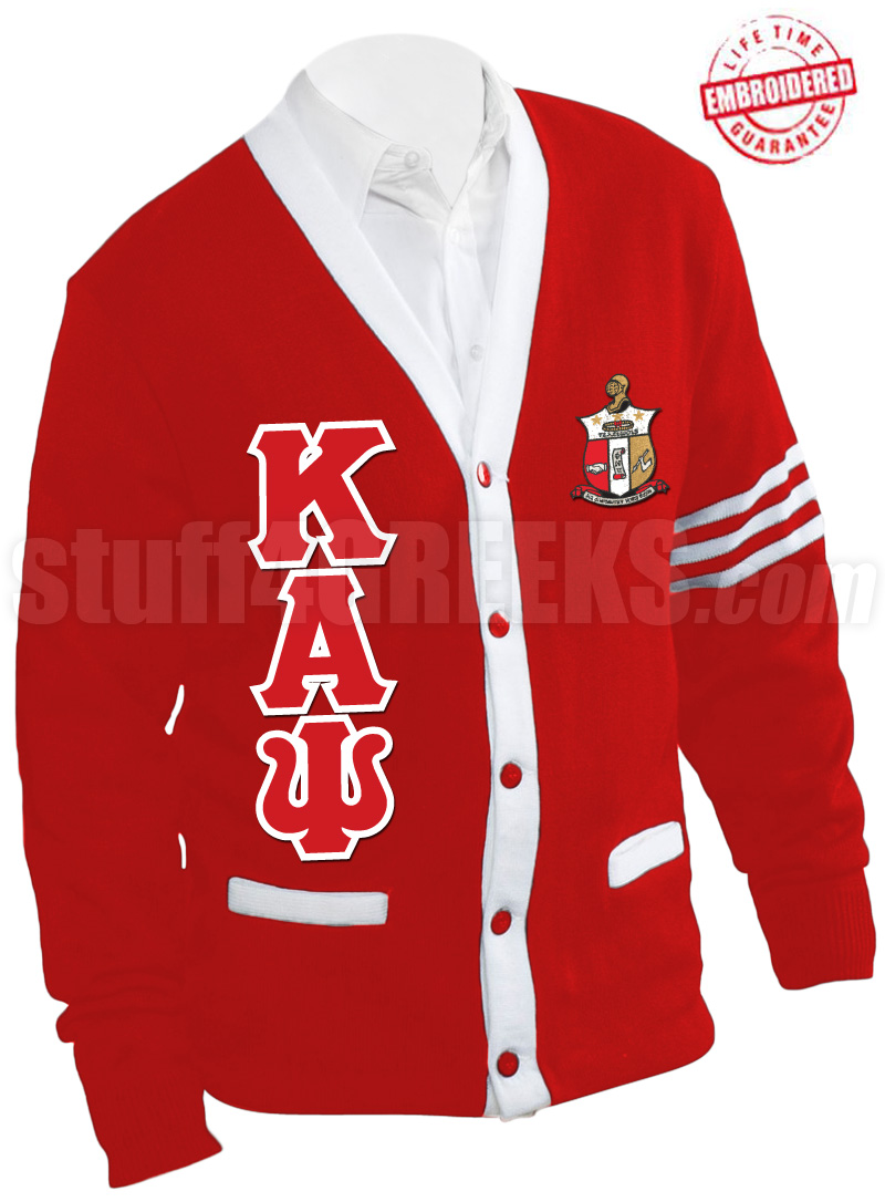 kappa,alpha,psi,letter,crest,stripped,cardigan,sweater,red_white