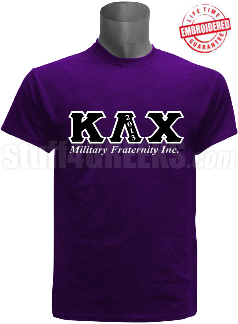 Greek Letter Before Kappa.Kappa Lambda Chi Greek Letter T Shirt Purple Embroidered With Lifetime Guarantee