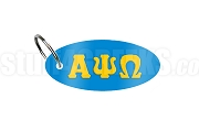 Alpha Psi Omega Key Chain with Greek Letters, Columbia Blue