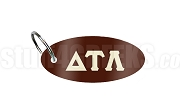 Delta Tau Lambda Key Chain with Greek Letters, Brown