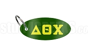 Delta Theta Chi Key Chain with Greek Letters, Forest Green