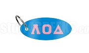 Lambda Omicron Delta Key Chain with Greek Letters, Light Blue
