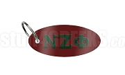 Nu Zeta Phi Key Chain with Greek Letters, Burgundy