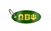 Omega Beta Psi Key Chain with Greek Letters, Forest Green
