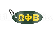 Omega Phi Beta Key Chain with Greek Letters, Forest Green