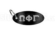 Omega Phi Gamma Key Chain with Greek Letters, Black