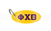 Phi Chi Theta Key Chain with Greek Letters, Gold