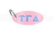 Tau Gamma Delta Key Chain with Greek Letters, Light Pink