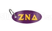 Zeta Nu Delta Key Chain with Greek Letters, Purple