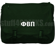 Phi Beta Pi Laptop Bag with Greek Letters, Forest Green
