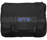 Phi Tau Phi Laptop Bag with Greek Letters, Black