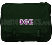 Phi Theta Sigma Laptop Bag with Greek Letters, Forest Green