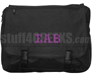 Sigma Alpha Beta Laptop Bag with Greek Letters, Black