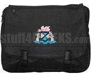 Sigma Chi Iota Laptop Bag with Crest, Black