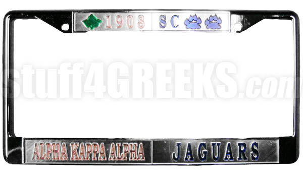 Alpha Kappa Alpha/Spelman College Jaguars Split License Plate Frame