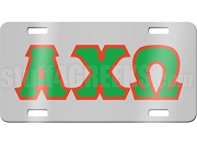 Alpha Chi Omega License Plate with Red and Kelly Green Letters on Silver Background