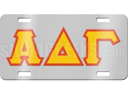 Alpha Delta Gamma License Plate with Gold and Red Letters on Silver Background