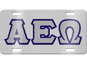 Alpha Epsilon Omega License Plate with Gray and Navy Blue Letters on Silver Background