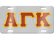 Alpha Gamma Kappa License Plate with Cardinal and Gold Letters on Silver Background