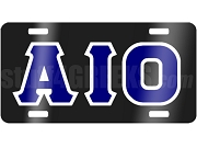 Alpha Iota Omicron License Plate with Silver and Royal Blue Letters on Black Background