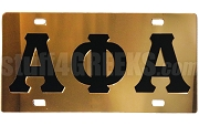 Alpha Phi Alpha Basic Letter License Plate, Gold