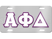 Alpha Phi Delta License Plate with White and Purple Letters on Silver Background