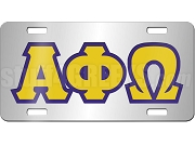 Alpha Phi Omega License Plate with Royal Blue and Old Gold Letters on Silver Background