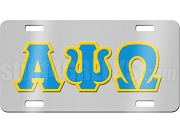 Alpha Psi Omega License Plate with Columbia Blue and Gold Letters on Silver Background
