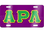 Alpha Rho Lambda License Plate with Kelly Green and Gold Letters on Purple Background